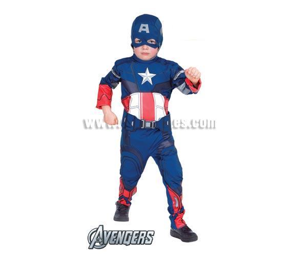 Disfraz de Capitán América Classic para niños de 5 a 6 años. Incluye jumpsuit, gorro con antifaz y cinturón. Disfraz con Licencia MARVEL. Ideal para regalar en Navidad. De la película LOS VENGADORES.