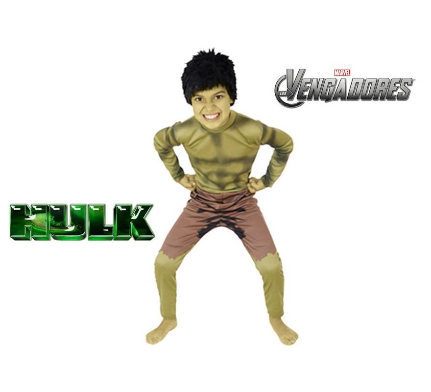 Disfraz de Hulk para niños de 5 a 7 años. Incluye jumpsuit y peluca. Disfraz de Licencia MARVEL. Ideal para regalar en Navidad. De la película LOS VENGADORES.