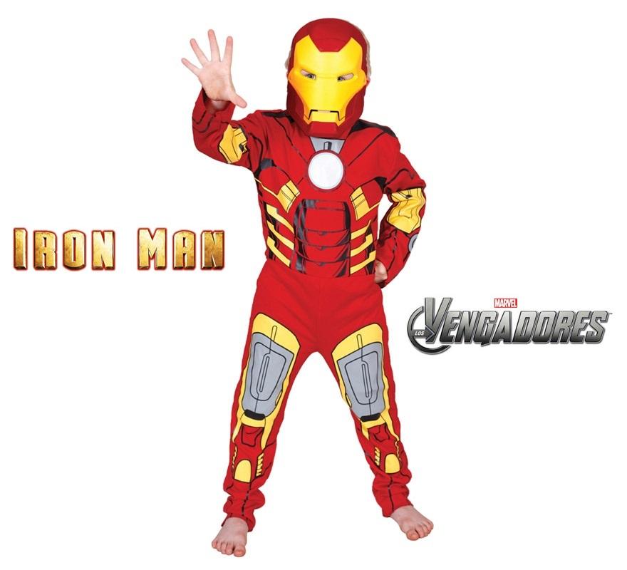 Disfraz de Iron Man Classic para niños de 7 a 8 años. Incluye jumpsuit y máscara de EVA. Disfraz de Licencia MARVEL. Ideal para regalar en Navidad. De la película LOS VENGADORES.