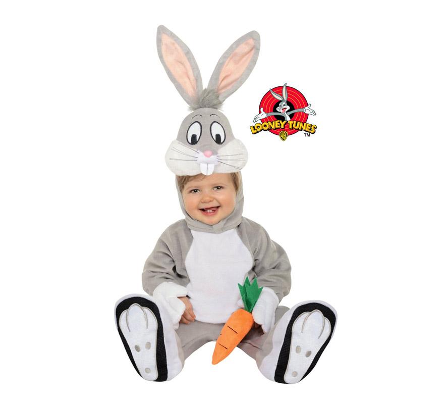 Disfraz de Bugs Bunny para niños de 1 a 2 años. Incluye traje completo con gorro. Presentación en Bolsa de regalo. Disfraz de los Looney Tunes. Ideal para regalar en Navidad.