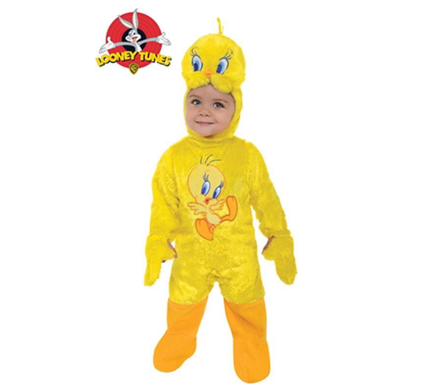 Disfraz de Tweety o Piolín para niños de 1 a 2 años. Incluye traje con gorro. Presentación en bolsa de regalo. Disfraz de los Looney Tunes. Ideal para regalar en Navidad.