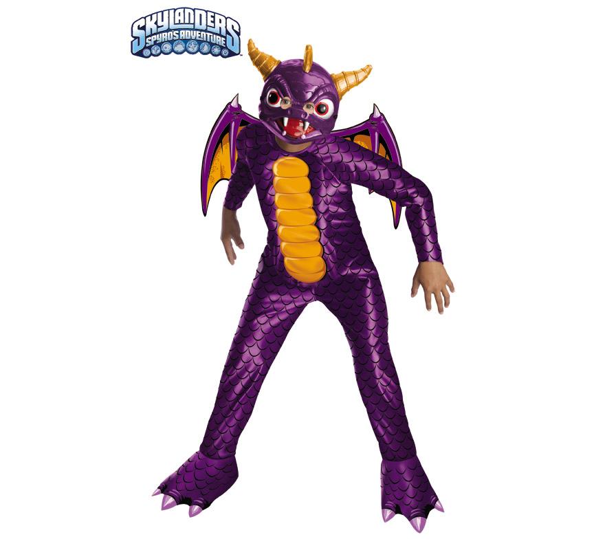Disfraz de Dragón Spyro para niños de 5 a 7 años. Incluye jumpsuit (mono) y máscara. Disfraz con licencia del videojuego de Skylanders Spyro's Adventure.