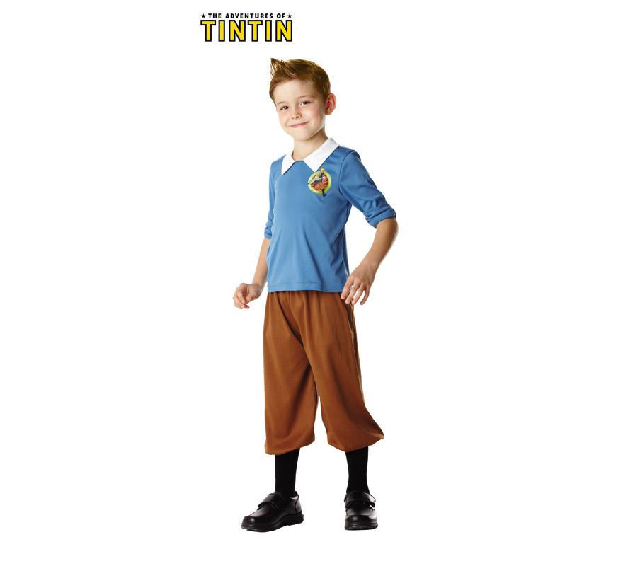 Disfraz de Tintín para niños de 7 a 8 años. Incluye camisa y pantalón. Disfraz de Tin Tin con licencia perfecto para regalar en cualquier ocasión del año.
