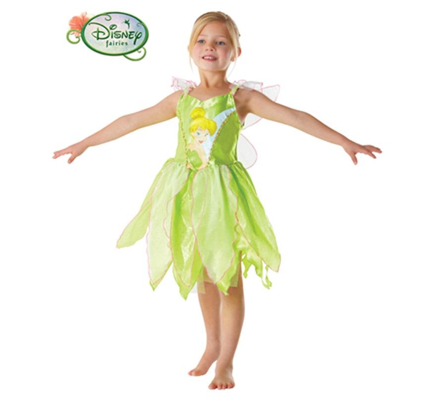 Disfraz de Campanilla Classic para niñas de 3 a 4 años. Incluye vestido y alas. Disfraz con licencia Disney perfecto para regalar. Éste traje es perfecto para Carnaval y como regalo en Navidad, en Reyes Magos, para un Cumpleaños o en cualquier ocasión del año. Con éste disfraz harás un regalo diferente y que seguro que a los peques les encantará y hará que desarrollen su imaginación y que jueguen haciendo valer su fantasía.
