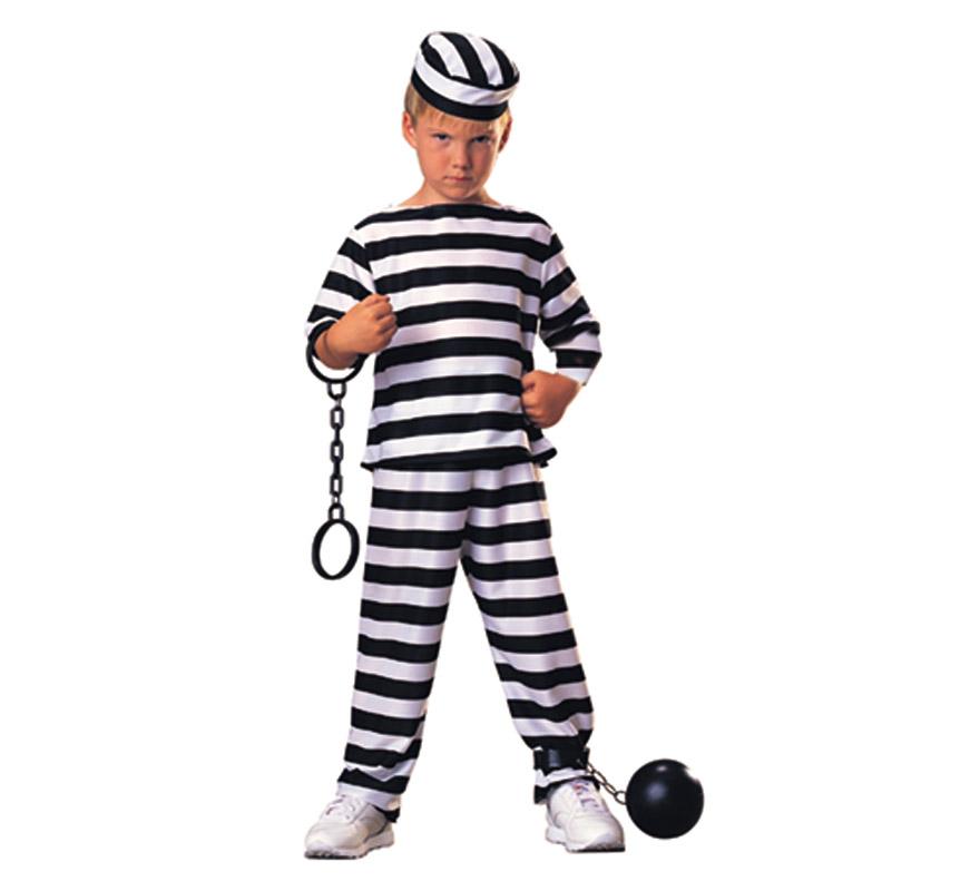 Disfraz muy barato de Prisionero para niños de 3 a 4 años. Incluye pantalón, camisa de manga larga y gorro. Accesorios NO incluidos, podrás verlos en la sección de Complementos. Con éste disfraz de Preso o Presidiario los niños están muy graciosos y no está nada visto en éstas tallas infantiles, por lo que irán diferentes al resto.