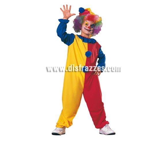 Disfraz de Payaso para niños de 5 a 7 años. Incluye mono completo y gorro. Peluca NO incluida, podrás verla en la sección de Complementos - Pelucas, Barbas y Bigotes.