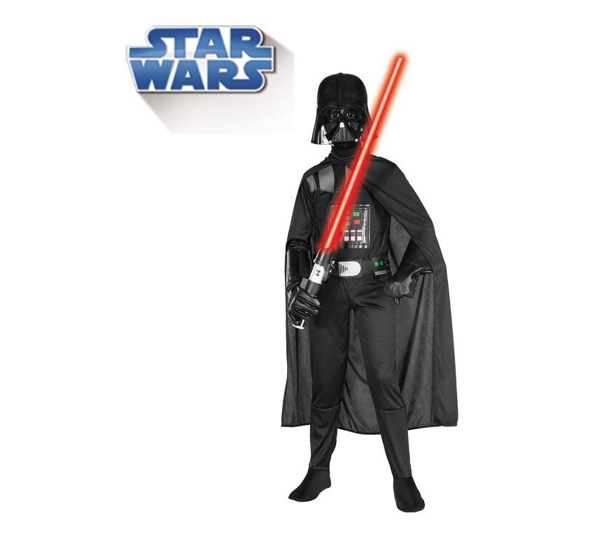 Disfraz de Darth Vader infantil con máscara para Carnaval. Talla de 5 a 7 años. Incluye traje completo, capa y máscara. Espada NO incluida. Disfraz con licencia STAR WARS de la factoria Lucas ideal para regalo. Éste disfraz es ideal para Carnaval y para regalar en Navidad, en Reyes Magos, para un Cumpleaños o en cualquier ocasión del año. Con éste disfraz harás un regalo diferente y que seguro que a los peques les encantará y hará que desarrollen su imaginación y que jueguen haciendo valer su fantasía.  ¡¡Compra tu disfraz para Carnaval o para regalar en Navidad o en Reyes Magos en nuestra tienda de disfraces, será divertido!!
