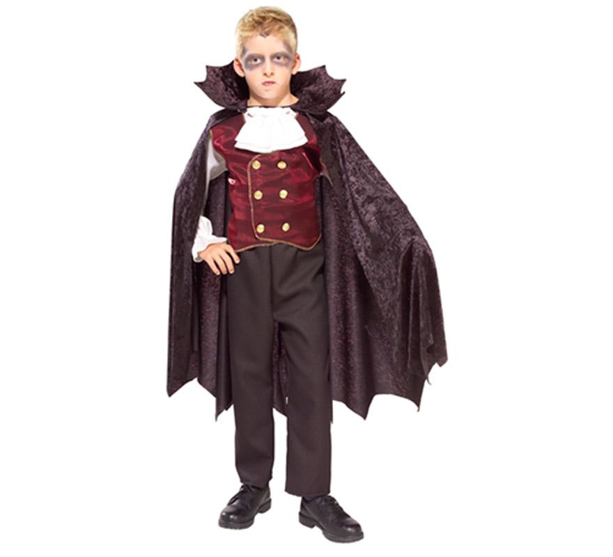 Disfraz de El Conde Vampiro infantil para Halloween. Talla de 5 a 7 años. Incluye camisa, pantalón, capa y chaleco de terciopelo. De la película LOS MALDITOS estrenada el 10/03/2010.