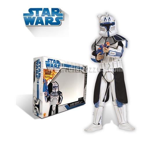 Disfraz de Clone Rex Trooper lujo. Talla de 3 a 4 años. Disfraz con licencia Star Wars. Incluye mono impreso con armadura, cinturón de EVA, máscara y blaster de EVA. Ideal para pedir a Papa Noel o a los Reyes Magos.