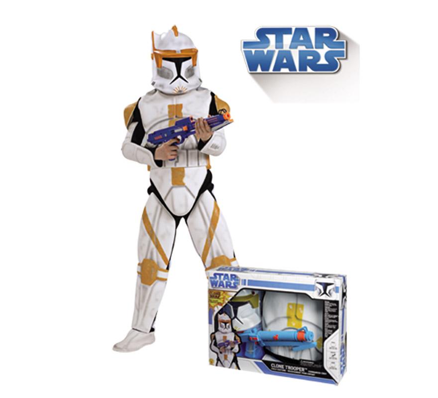 Disfraz de Clone CODY Trooper lujo de 5 a 7 años. Incluye Jumpsuit (mono) con armadura y cinturón de EVA, máscara y blaster de EVA. Disfraz con licencia Star Wars ideal para regalar en Papa Noel y Reyes Magos.