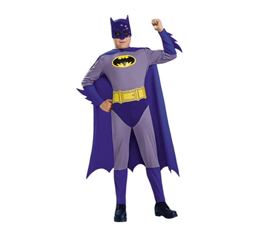 Disfraz de Batman The Brave and the Bold (El Bravo y Valiente) infantil para Carnaval. Talla de 8 a 10 años. Incluye jumpsuit (mono), máscara, capa y cinturón. Disfraz con licencia perfecto como regalo. Éste disfraz es ideal para Carnaval y para regalar en Navidad, en Reyes Magos, para un Cumpleaños o en cualquier ocasión del año. Con éste disfraz harás un regalo diferente y que seguro que a los peques les encantará y hará que desarrollen su imaginación y que jueguen haciendo valer su fantasía.  ¡¡Compra tu disfraz para Carnaval o para regalar en Navidad o en Reyes Magos en nuestra tienda de disfraces, será divertido!!