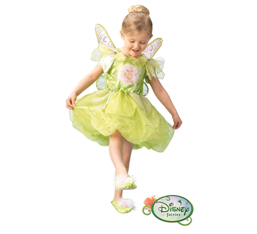 Disfraz Disney de Campanilla PLATINUM infantil para Carnaval. Talla de 8 a 10 años. Incluye vestido, alas y zapatos. Traje con licencia Disney perfecto como regalo.