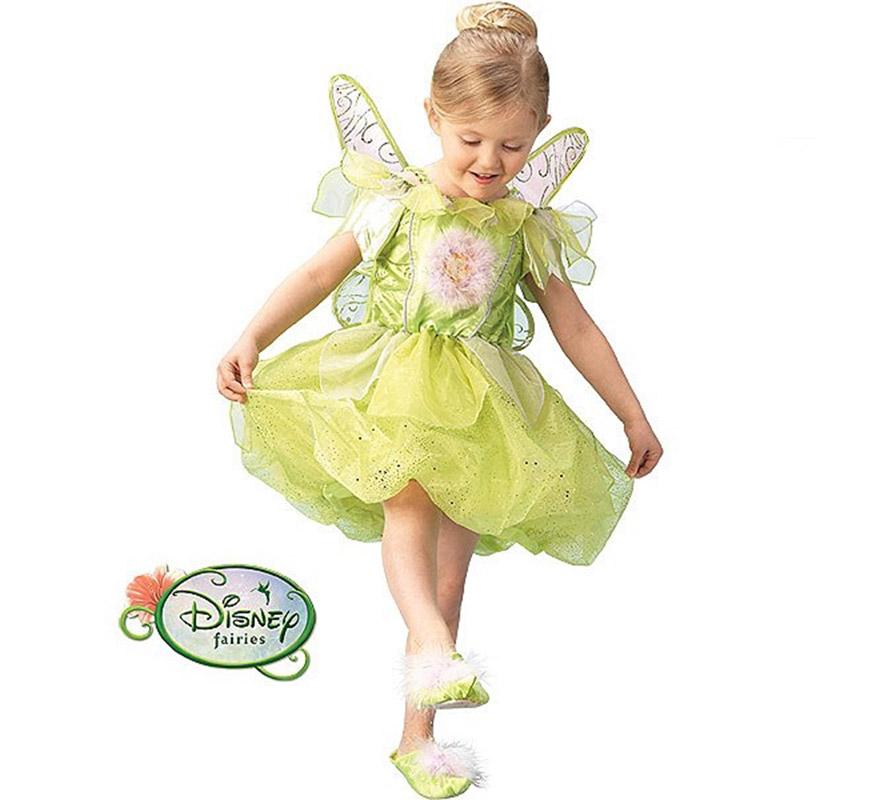 Disfraz barato de Campanilla con luz en Caja para niñas 5-7 años