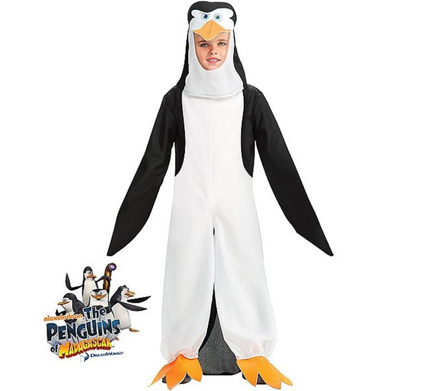 Disfraz de Pingüino Skipper de MADAGASCAR para niños de 5 a 7 años. Contiene jumpsuit o mono con gorro. Disfraz con licencia de Los Pingüinos de MADAGASCAR que tanto gustan a los niños. Perfecto para regalar.