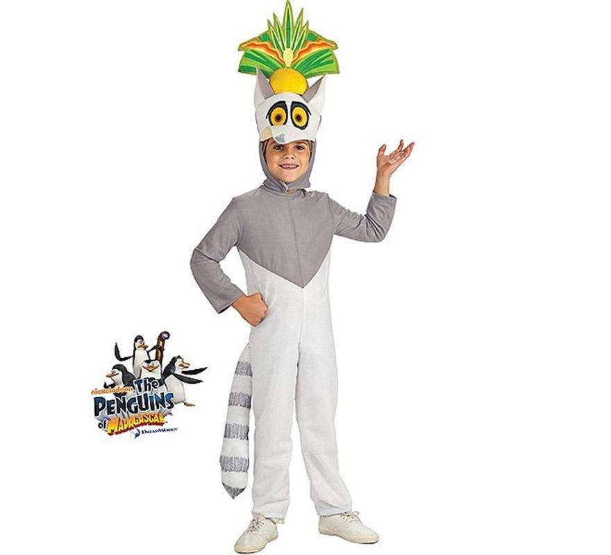 Disfraz del Lemur King Julien Pingüinos MADAGASCAR para niños de 3 a 4 años. Contiene jumpsuit o mono con gorro. Disfraz con licencia de Los Pingüinos de MADAGASCAR que tanto gustan a los niños. Perfecto para regalar.