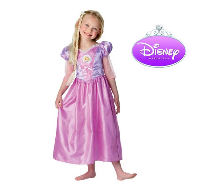 Disfraz de Rapunzel infantil para niñas de 3 a 4 años. Incluye vestido y trenza. Disfraz con licencia Disney perfecto para regalar.
