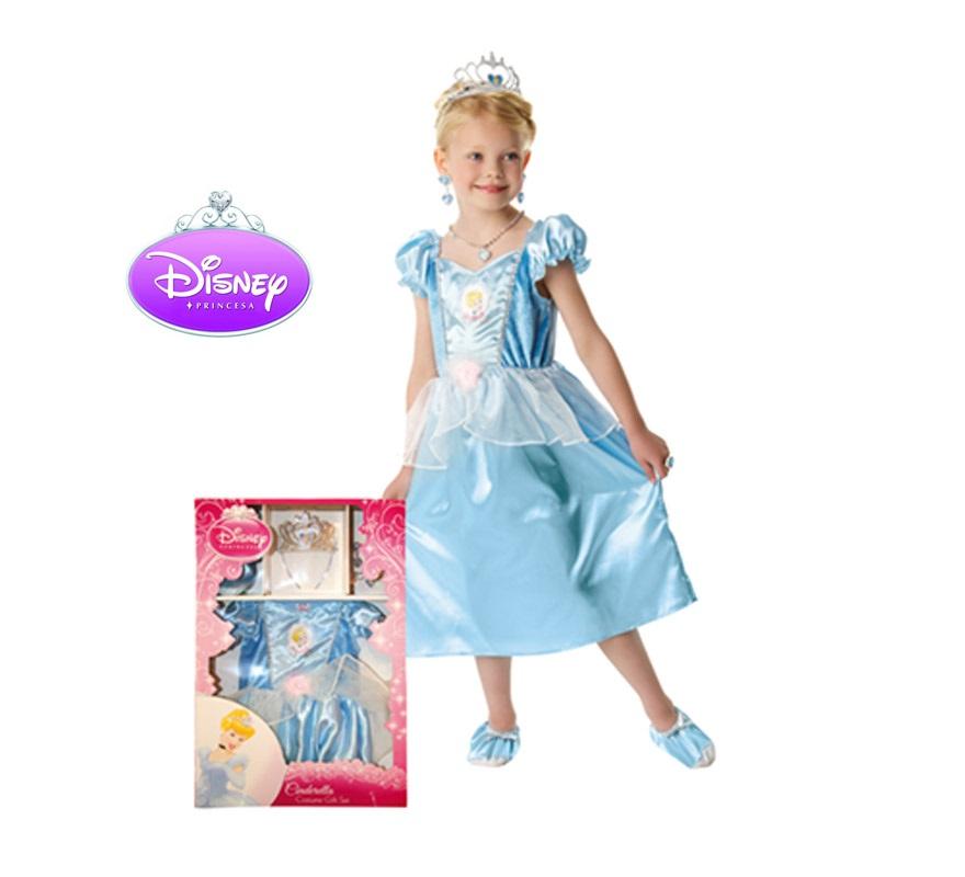 Disfraz Disney de La Cenicienta Classic con accesorios infantil para Carnaval. Talla de 5 a 6 años. Incluye vestido, tiara, set de joyas y zapatos de tela. Presentación en Caja regalo, traje con licencia Disney perfecto como regalo.