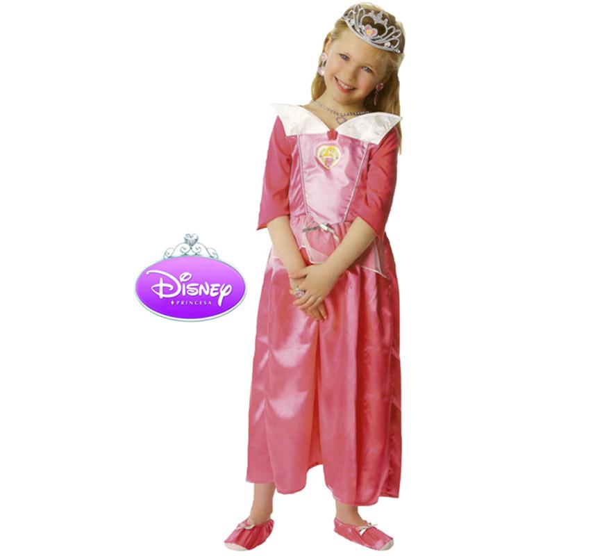 Disfraz Disney de La Bella Durmiente Classic en caja con accesorios para Carnava. Talla de 5 a 6 años. Incluye vestido, tiara, set de joyas y zapatos de tela. Presentación en Caja regalo. Traje de La Bella Durmiente con licencia Disney perfecto como regalo.