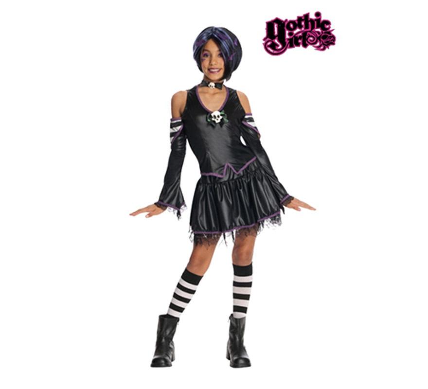 Disfraz de Malice niñas de 5 a 7 años GOTHIC GIRLS. Incluye vestido, leggings, medias, guantes y gorro. Peluca NO incluida, podrás verla con la ref: 51561RU. Éste disfraz es muy original y más ahora que tanto están de moda las Monster High.