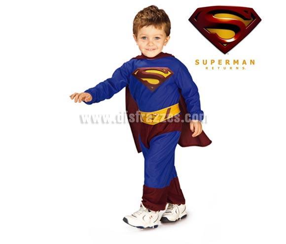 Disfraz de Superman bebé. Talla de 1 a 2 años. Incluye traje completo, capa y cinturón. Disfraz con licencia ideal como regalo en Navidad y Reyes.
