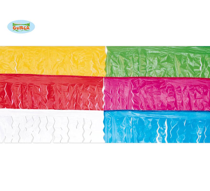 Bolsa de 25 mts. de Fleco de plástico unicolor. Disponible en varios colores. Precio por unidad, se venden por separado.