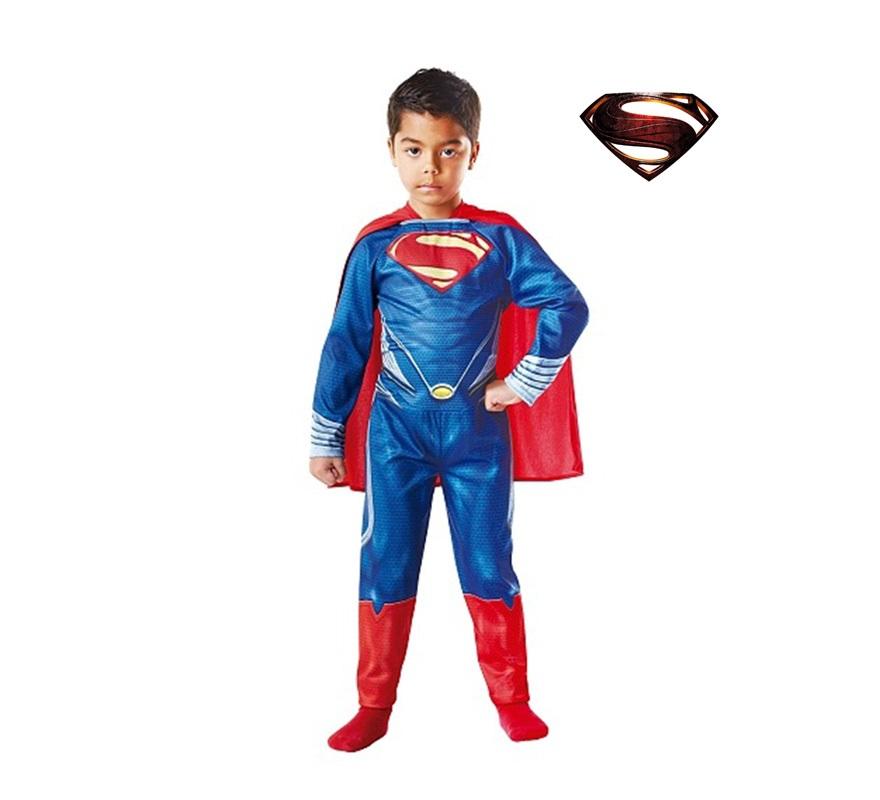 Disfraz Superman El Hombre de Acero para Niño de 3 a 4 años. Disfraz Original y de Alta Calidad, con Licencia de oficial de DC Cómics, del considerado como Primer Superhéroe de la Historia. Disfraz de la última película de Superman, dirigida por Zack Snyder, El hombre de acero. Se compone de Mono impreso y Capa.