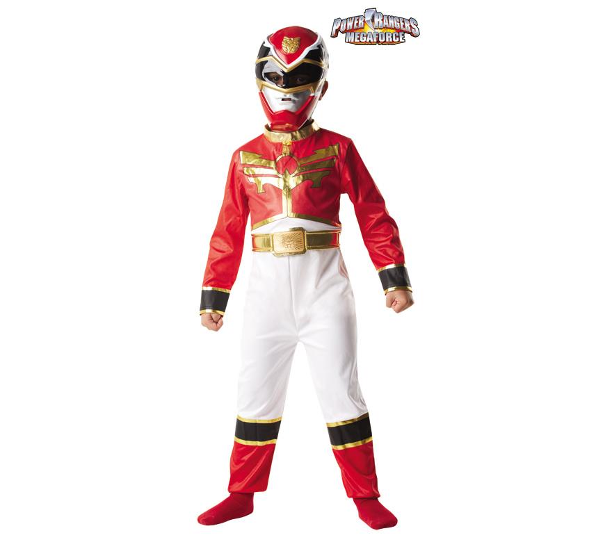 Disfraz de Power Ranger Rojo para Niño de 5 a 6 años. Disfraz Original y de Alta Calidad, con Licencia oficial de Power Rangers Megaforce. Se compone de Mono, Cinturón y Casco.