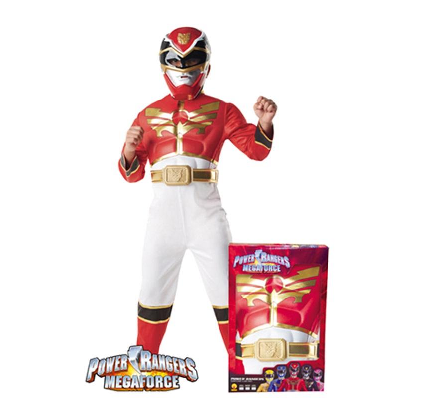 Disfraz de Power Ranger musculoso Rojo Niño de 7 a 8 años. Único y original disfraz con licencia de los Power Rangers. Se compone de Mono con pecho musculoso, cinturón y casco o máscara. Presentación en caja.