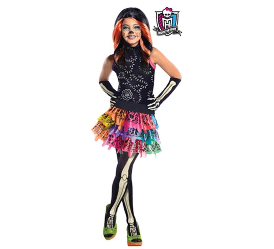 Disfraz de Skelita Calaveras de las MONSTER HIGH para niñas de 5 a 7 años. Incluye vestido, cinturón, guantes y medias. Peluca NO incluida, podrás verla con la ref: 52812RU. Disfraz con licencia MONSTER HIGH que tanto ha gustado a las niñas perfecto como regalo.
