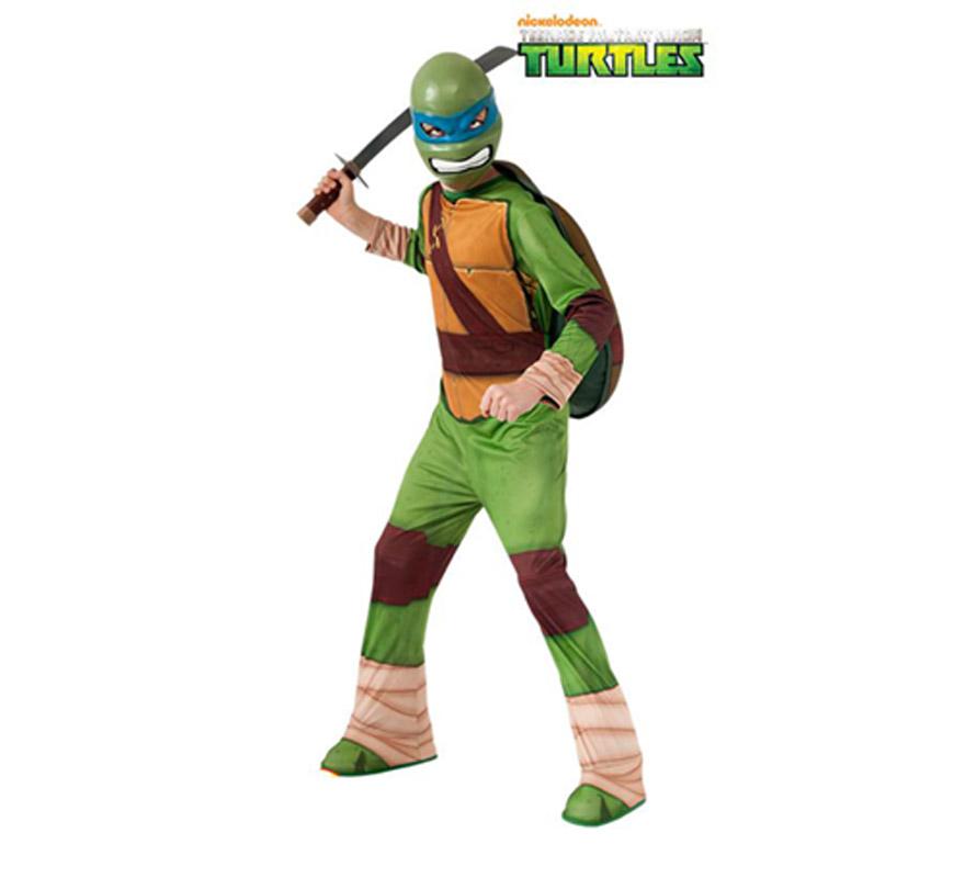 Disfraz de Leonardo de las Tortugas Ninja para niños de 3 a 4 años. Incluye traje completo con cubrezapatos, máscara y caparazón para rellenar. Espada NO incluida, podrás verla en la sección de Accesorios. Disfraz con licencia NICKELODEON perfecto como regalo. Éste traje es perfecto para Carnaval y como regalo en Navidad.