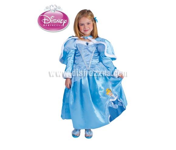 Disfraz de Cenicienta Winter para niñas de 5 a 7 años. Incluye vestido y capa. Disfraz con licencia. Ideal para regalar en Navidad. Presentación en suit carrier.