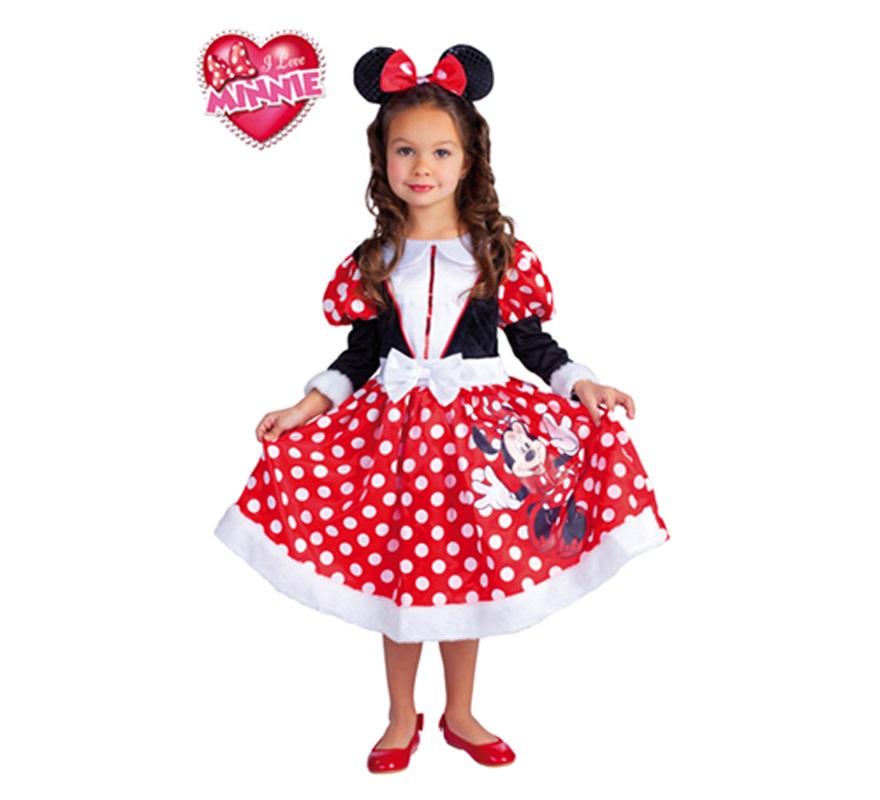 Disfraz de Minnie Mouse Winter roja para niñas de 5 a 7 años. Incluye vestido y diadema con orejas. Disfraz con licencia Disney. Ideal para regalar en Navidad. Presentación en suit carrier.