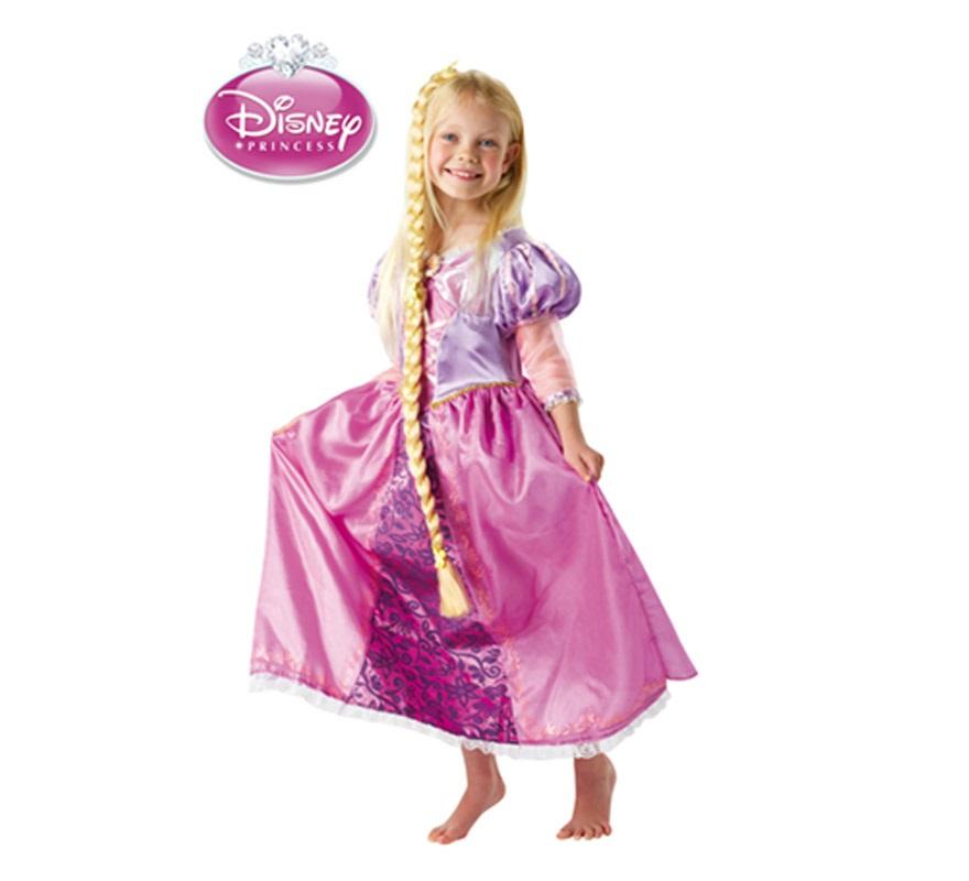 Disfraz de Rapunzel Deluxe para niñas de 3 a 4 años. Incluye vestido y trenza. Disfraz con licencia Disney perfecto para regalar. Presentación en Suit Carrier.