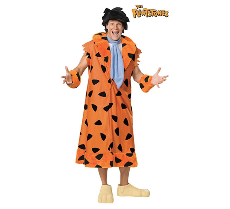 Disfraz de Fred Flinston de Los Picapiedras o The Flinstones para hombre. Talla Standar. Incluye abrigo con cuello, corbata, muñequeras, peluca y cubrezapatos.