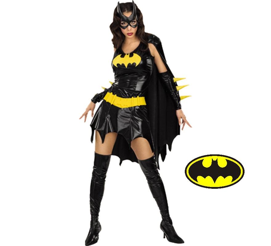 Disfraz de Bat Girl adulta para Halloween o Carnaval. Talla M = 40/42 de mujer. Incluye vestido con capa, guantes, antifaz, cinturón y cubrebotas de vinilo.