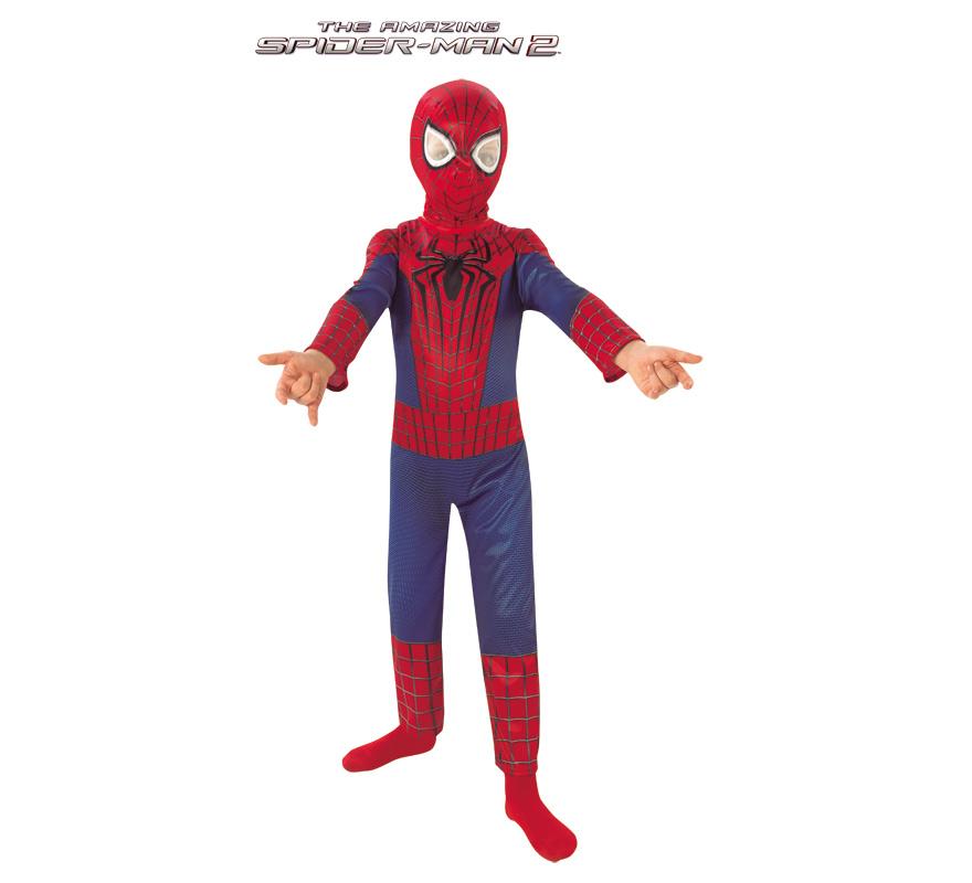 Disfraz de Amazing Spiderman para Niño de 3 a 4 años. Disfraz Original y de Alta Calidad con Licencia de Marvel del Superhéroe Arácnido, creado por Stan Lee y Steve Ditko, Spiderman. Se compone de Mono y Máscara. Completa este disfraz con artículos de nuestra sección de accesorios.
