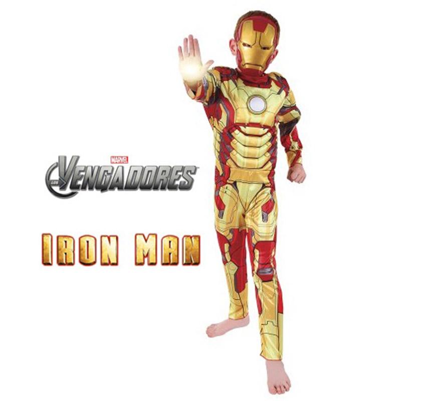 Disfraz de Iron Man 3 musculoso Deluxe para niños de 3 a 4 años. Incluye jumpsuit impreso con pecho musculoso y máscara. Genuino y original disfraz de Iron man, el Hombre de Hierro, con licencia de la última película de éste superhéroe