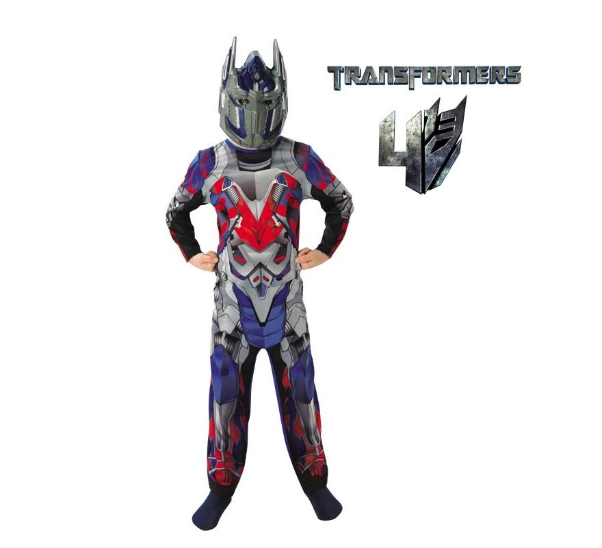 Disfraz Transformers Optimus Prime para Niño de 3 a 4 años. Disfraz Original y de Alta Calidad, con Licencia oficial de la película Transformers 4: La era de la extinción. Se compone de Mono y Casco. La lucha continúa entre Autobots y Decepticons.