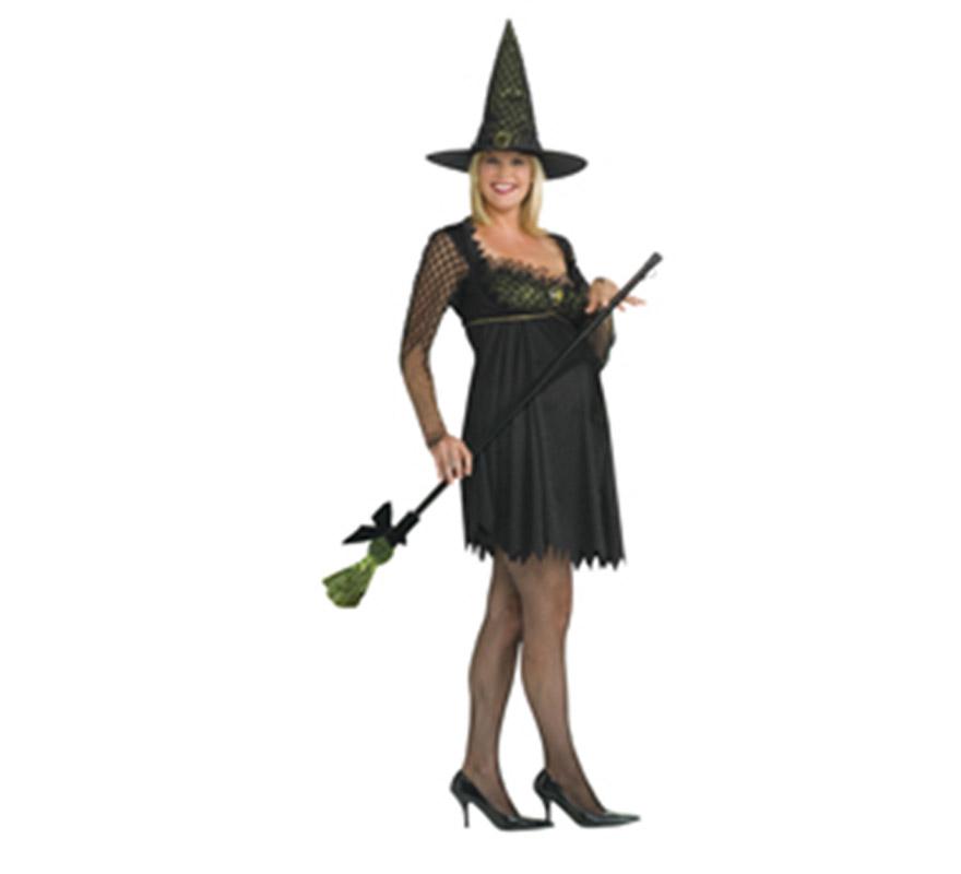 Disfraz de Bruja Pre-Mamá para Halloween. Incluye vestido y sombrero.