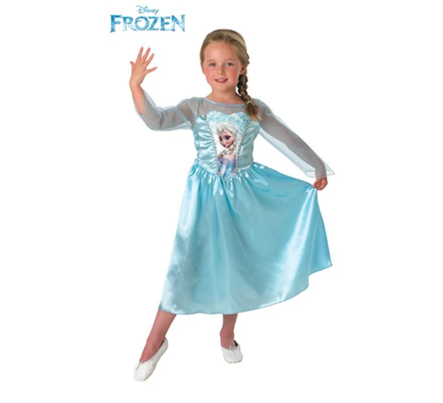 Disfraz de Elsa de Frozen: El reino de Hielo para Niña de 5 a 6 años. Genuino y original disfraz de Elsa, la Reina de las Nieves, de la nueva película de Disney