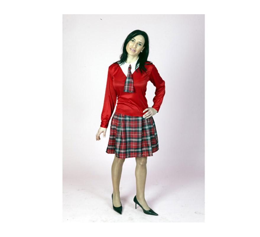 Disfraz de Colegiala adulta. Talla standar M-L = 38/42. Incluye camisa, falda y corbata.