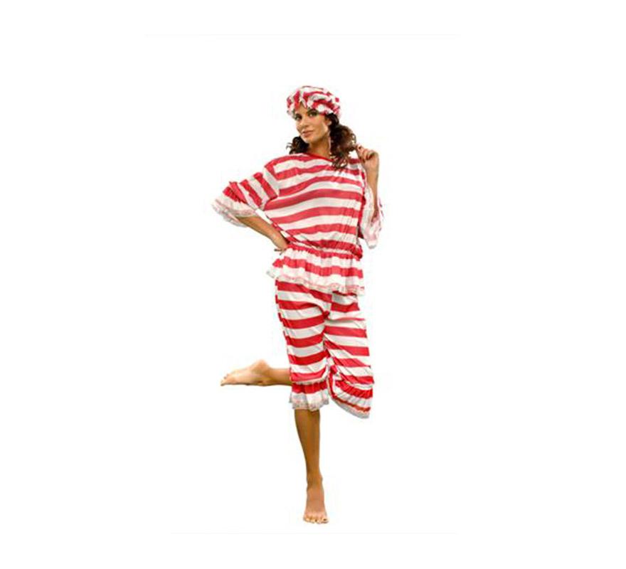 Disfraz de mujer bañista adulta para Carnaval. Talla Standar M-L 38/42. Incluye gorro, camisa y pantalón.