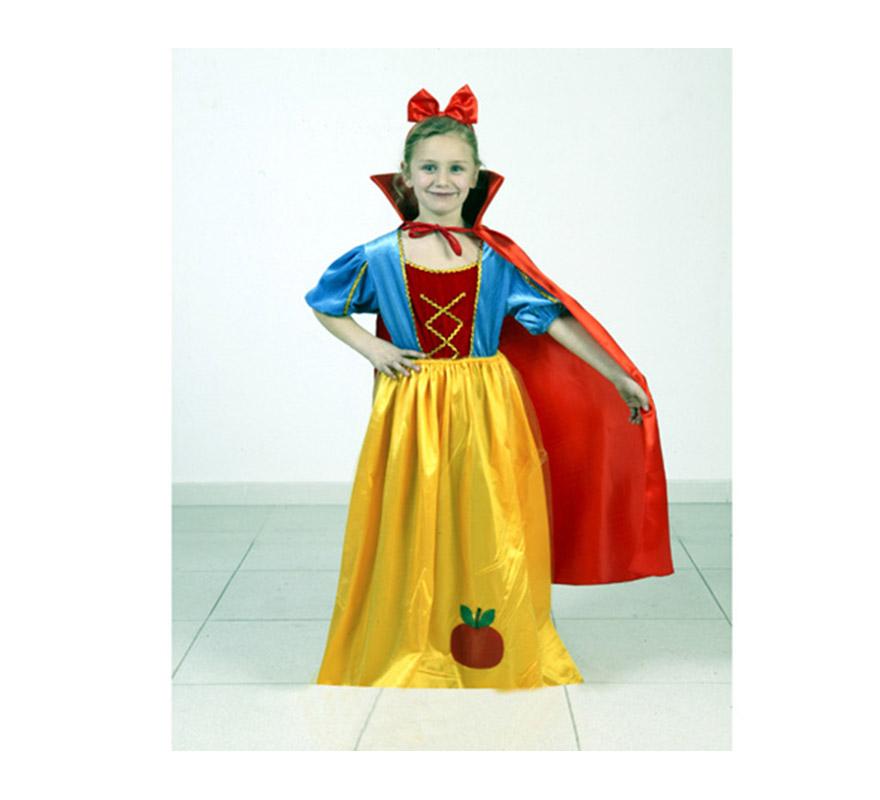 Disfraz de Blancanieves infantil barato para Carnaval. Talla de 5 a 6 años. Incluye vestido, capa y diadema.
