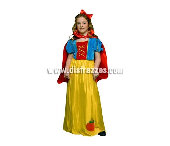 Disfraz de Blancanieves infantil barato para Carnaval. Talla de 7 a 9 años. Incluye vestido, capa y diadema.