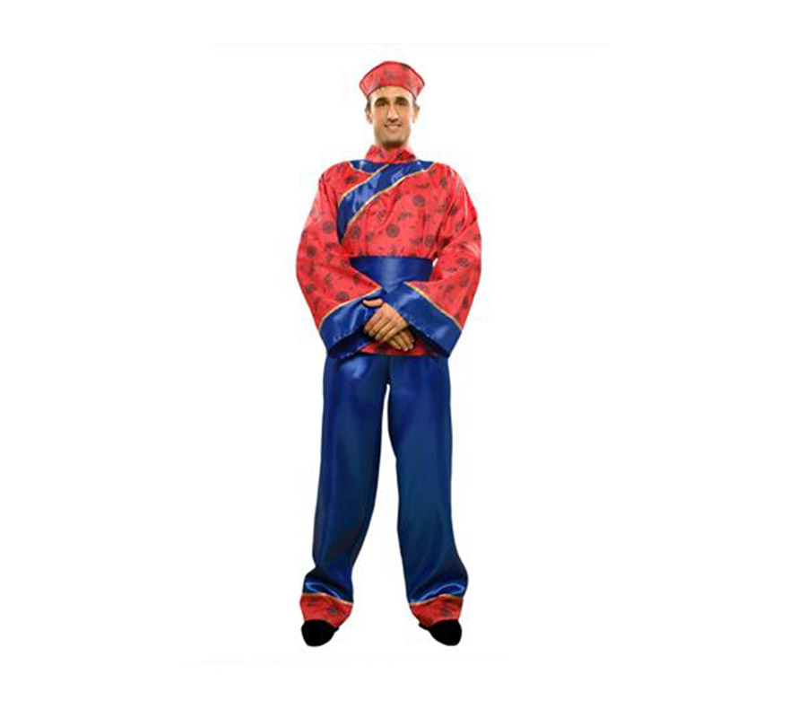 Disfraz de Chino para hombre. Talla standar M-L 52/54. Incluye sombrero, camisa, cinturón y pantalones.