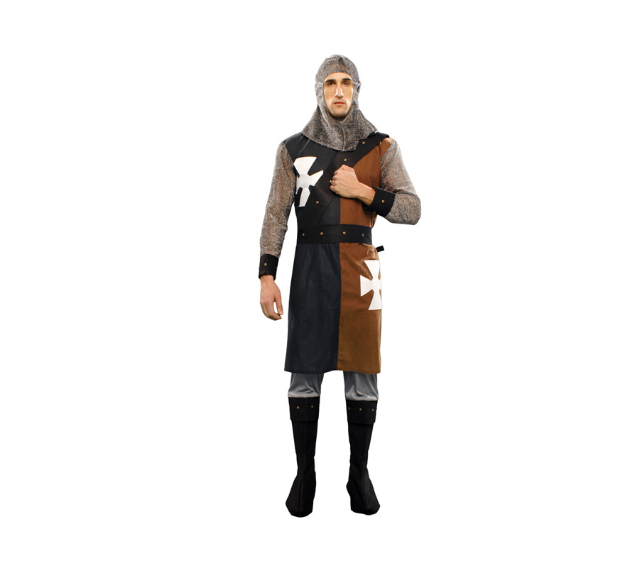 Disfraz de Caballero Medieval verde-marrón adulto. Talla Standar M-L 52/54. Incluye verdugo, casaca, cinturón y pantalones-botas de tela. Excelente relación calidad - precio.