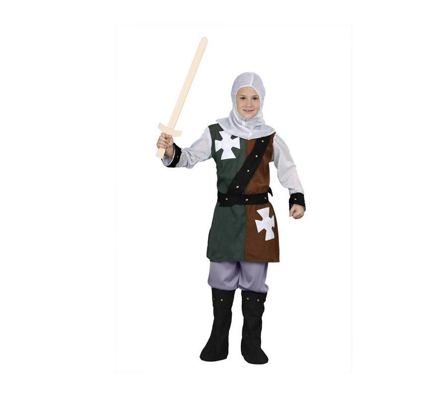 Disfraz de Caballero Medieval niño barato para Ferias Medievales. Talla de 7 a 9 años. Incluye verdugo, casaca, cinturón, pantalones y botas. Espada NO incluida.