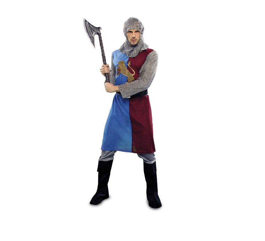 Disfraz de Caballero Medieval Azul-Granate barato para hombre. Talla Standar M-L 52/54. Incluye verdugo, casaca, cinturón y pantalones-botas de tela. Hacha NO incluida, podrás verla en la sección de Complementos. Un disfraz que se vende muy bien para Fiestas o Ferias Medievales por su diseño y colorido.