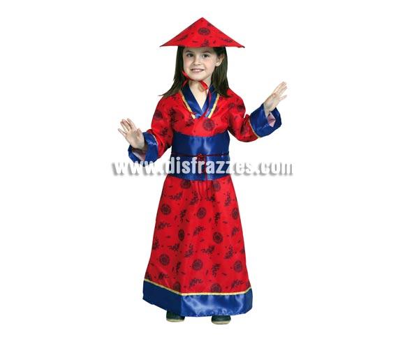 Disfraz de China para niña de 7-9 años. Incluye vestido, gorro y cinturón.