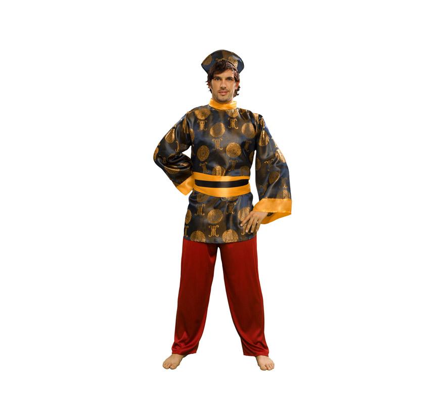 Disfraz de Chino lujo para hombre. Talla standar M-L = 52/54. Incluye gorro, casaca, cinturón y pantalón.